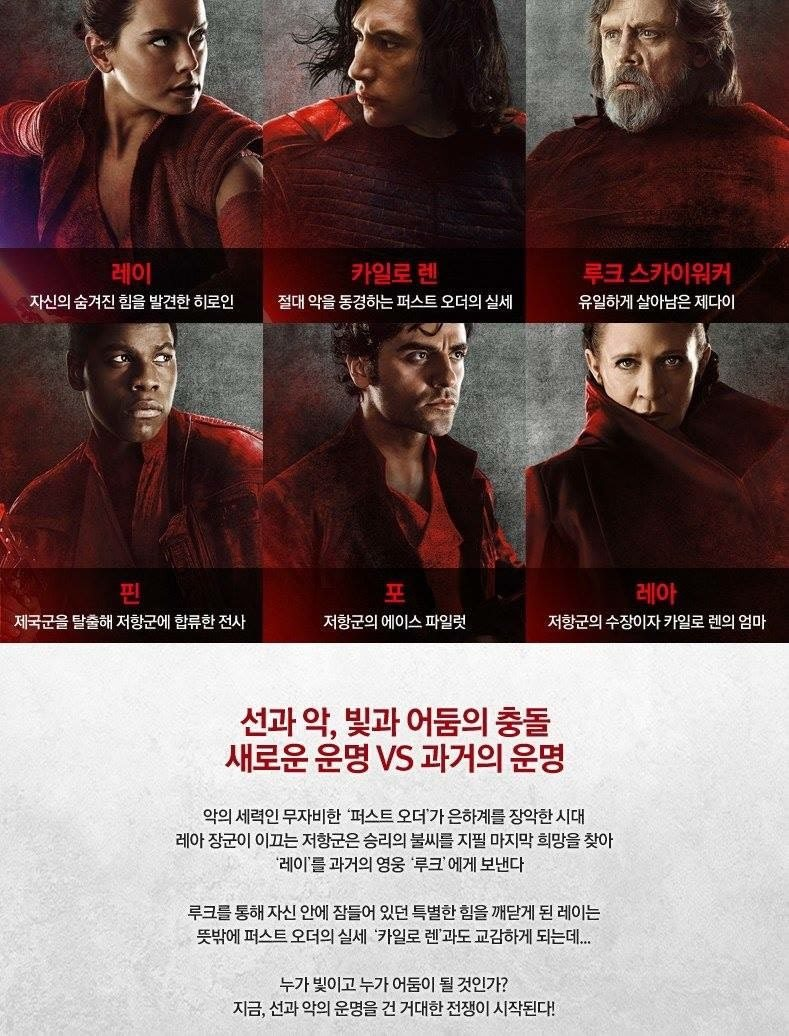 Korean poster reveals plot points for the last jedi